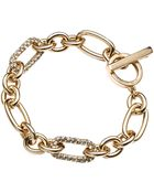Anne Klein 12kt Gold Plated Chain Link Bracelet with Crystal Embellishments - Lyst