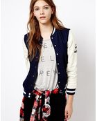 Pull&Bear Baseball Jacket with Leather Look Sleeve - Lyst