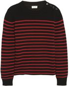 Saint Laurent Striped Cotton And Wool-Blend Sweater - Lyst