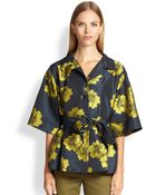 Etro Belted Poppy Jacquard Blouse - Lyst