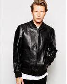 Edwin Leather Jacket Tour Bomber - Lyst