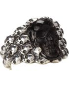 King Baby Studio Rainbow Obsidian Carved Skull In Silver Skull Frame - Lyst