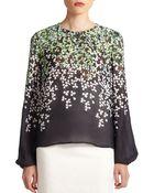 Carolina Herrera Silk Clover-Print Blouse - Lyst