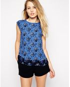 Oasis Floral Pleat Back Tee - Lyst