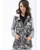 Forever 21 Hooded Camo Utility Jacket - Lyst