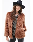Forever 21 Zippered Faux Fur Coat - Lyst
