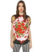 Dolce & Gabbana Floral Printed Silk Twill Top - Lyst