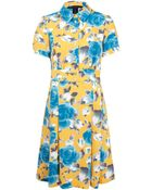 Marc By Marc Jacobs Yellow Rose Print Dress - Lyst