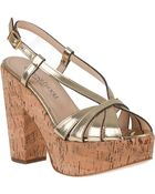Gastone Lucioli 4041 Platform Sandal Gold Oro Leather - Lyst