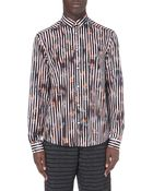 McQ by Alexander McQueen Floral Stripe Cotton Shirt - For Men - Lyst