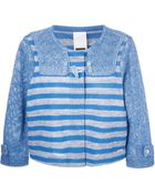 Bark Mesh-Sleeved Striped Jacket - Lyst