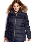 Michael Kors Michael Plus Size Hooded Fauxfurtrim Down Puffer Coat - Lyst