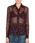 Saint Laurent Cherry-Print Silk Blouse - Lyst
