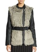 French Connection Faux Fur And Leather Jacket - Lyst