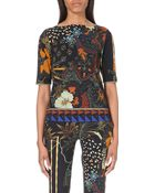 Etro Printed Jersey Top - Lyst