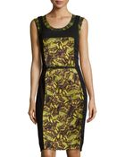 Philosophy di Alberta Ferretti Printed Silk Inset Dress - Lyst