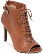 Jessica Simpson Erlene Lace Up Booties - Lyst