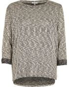River Island Grey Metallic Stepped Mem Top - Lyst