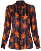 Paul Smith Navy And Orange Iris Stripe Silk Shirt - Lyst