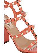 Valentino Rockstud Triple-Strap Sandals - Lyst