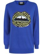 Markus Lupfer Tribal Spot Sequin Lip Sweater - Lyst