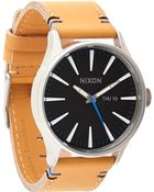 """Nixon The Sentry Leather"""" Watch - Lyst"""