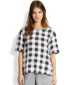 Equipment Logan Silk Check-Print Oversized Top - Lyst