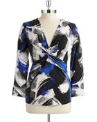 Anne Klein Patterned Twist Front Top - Lyst
