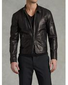 John Varvatos Zip Leather Jacket - Lyst
