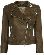 Karen Millen Italian Leather Biker Jacket - Lyst