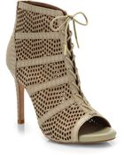 Joie Shari Embossed Leather & Suede Lace-Up Booties - Lyst