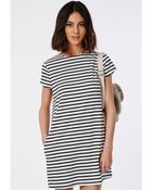 Missguided Striped T-Shirt Dress Monochrome - Lyst