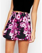 Asos Going Out Paper Bag Shorts In Floral Print - Lyst