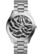 Michael Kors Midsize Silver Color Stainless Steel Runway Threehand Glitz Watch - Lyst