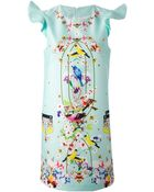 Piccione.piccione Printed Frill Sleeve Dress - Lyst