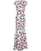 Carolina Herrera Abstract Bricks Print On Viscose Gown - Lyst