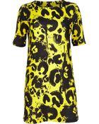 River Island Yellow Painted Animal Print Shift Dress - Lyst