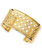 Tory Burch Golden Perforated Logo Skinny Cuff - Lyst