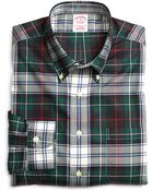 Brooks Brothers Non-iron Regular Fit Green Plaid Sport Shirt - Lyst