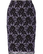 Lela Rose Embroidered Cotton-Blend Lace Pencil Skirt - Lyst