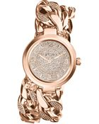 Michael Kors Womens Ellie Pavè Rose Goldtone Stainless Steel Double Link Bracelet 38mm - Lyst