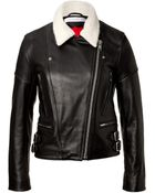 Victoria Beckham Leather Jacket With Knit Collar - Lyst