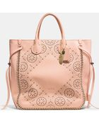 Coach Tatum Studded Tall Tote In Whiplash Leather - Lyst