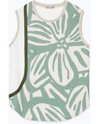 Zara Flower And Ribbon Print Top - Lyst