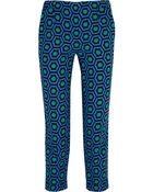 Lulu & Co Cropped Printed Crepe Slim-Leg Pants - Lyst