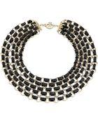 Tory Burch Aselma Multi Strand Necklace - Black/Shiny Brass - Lyst