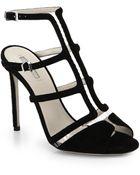 Giorgio Armani T-Strap Suede & Translucent Sandals - Lyst