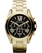 Michael Kors Women'S Chronograph Bradshaw Gold-Tone Stainless Steel Bracelet Watch 43Mm Mk5739 - Lyst