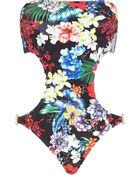 River Island Black Pacha Floral Print Bandeau Swimsuit - Lyst