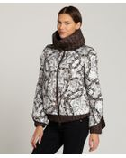 Moncler White Floral 'Fiest' Ribbed Down Filled Coat - Lyst